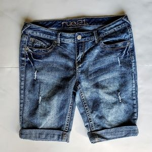 Rue21 Bermuda Distressed Jean Shorts